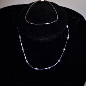Liquid Silver Small Pearl Necklace & Bracelet